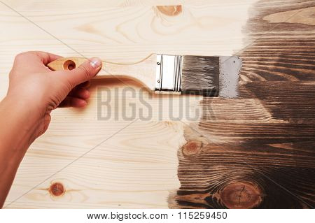 Hand painting on wooden table