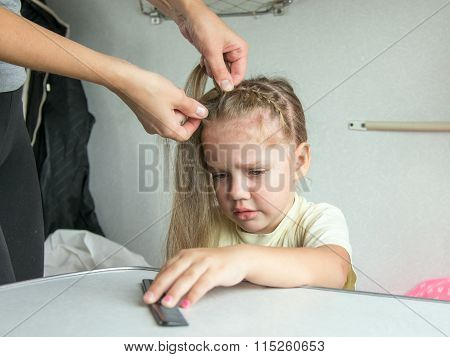 Four-year Girl Cries In Pain When My Mother Combing Her Hair