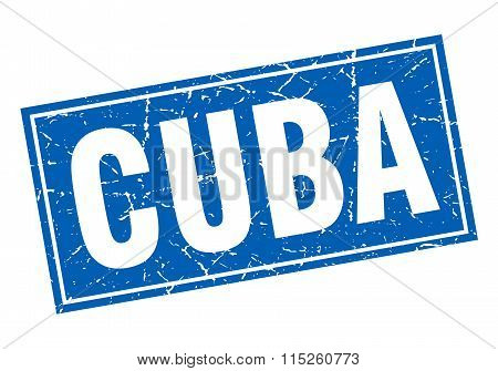 Cuba blue square grunge vintage isolated stamp