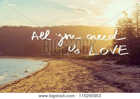 Handwritten Text Over Sunset Beach Background