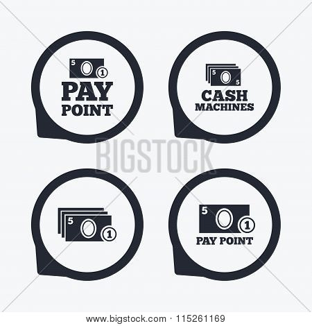 Cash and coin icons. Money machines or ATM.