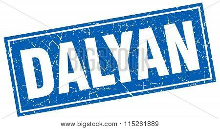 Dalyan blue square grunge vintage isolated stamp