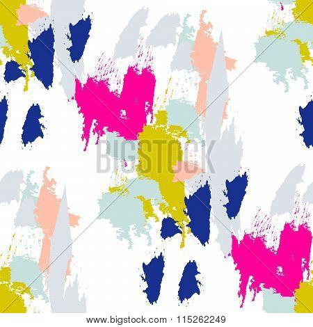 Acrylic Paint Brush Stroke Seamless Pattern.