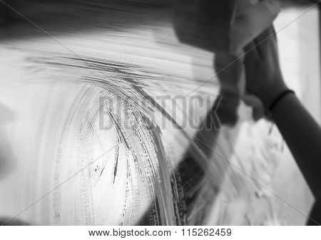 Young Woman Washing Windows, Black And White