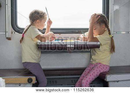 Two Girls Painted For The Side Table In The Second-class Train Carriage