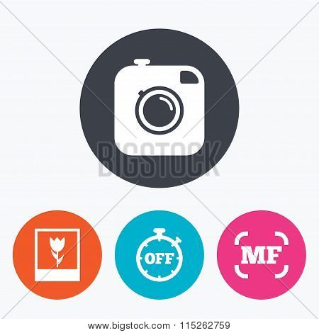 Photo camera icon. Manual focus and Macro signs.