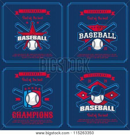 Set Baseball Badge, Logo, Emblem Tournament.