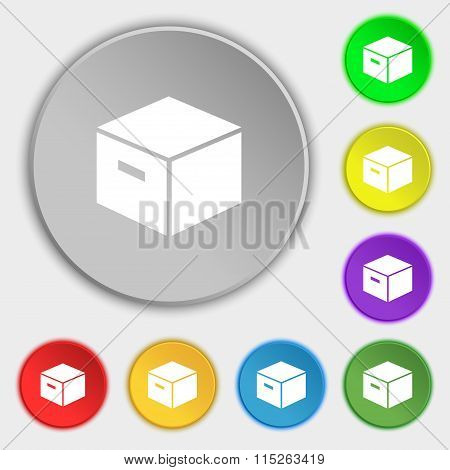 Packaging Cardboard Box Icon Sign. Symbol On Eight Flat Buttons.