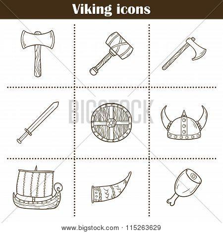 Viking cartoon icons