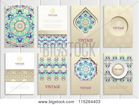 Turquoise vintage frames, ornaments, patterns and golden backgrounds
