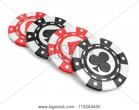 Casino chips with spade heart diamond and club on it. 3D