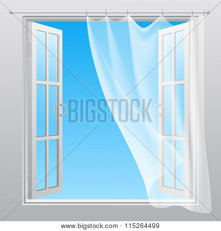 Double window opened outwardly with white fluttering curtain. Vector illustration
