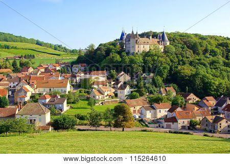 Quaint village with castle, Burgundy, France