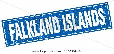 Falkland Islands blue square grunge vintage isolated stamp