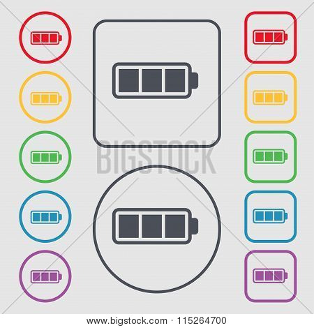 Battery Fully Charged Icon Sign. Symbol On The Round And Square Buttons With Frame.