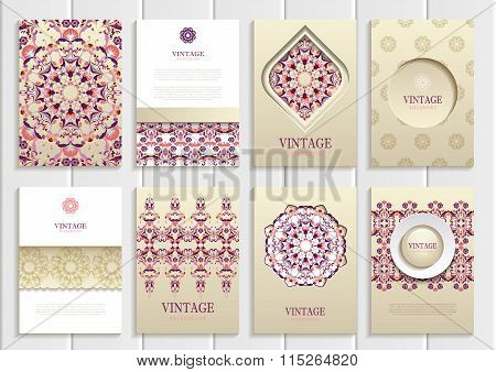 Dark pink, red frames, ornaments, patterns and golden backgrounds