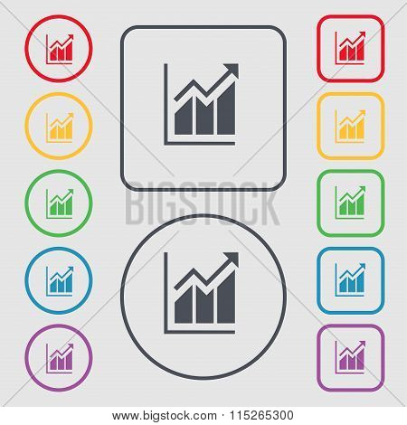 Growing Bar Chart Icon Sign. Symbol On The Round And Square Buttons With Frame.