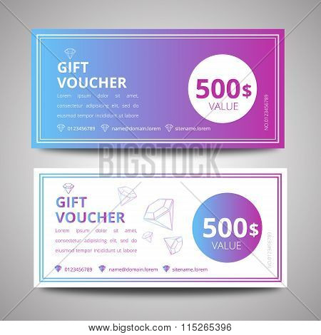 Vector Illustration, Colorful Gift Voucher Template, Gift Voucher Certificate Coupon Design Template