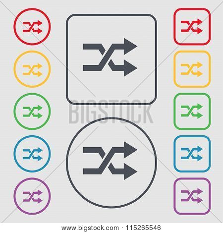Shuffle Icon Sign. Symbol On The Round And Square Buttons With Frame.