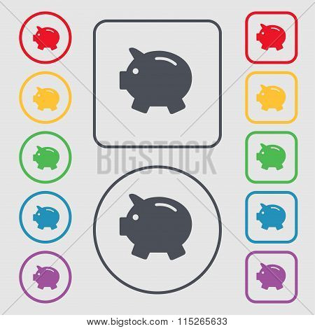 Piggy Bank - Saving Money Icon Sign. Symbol On The Round And Square Buttons With Frame.