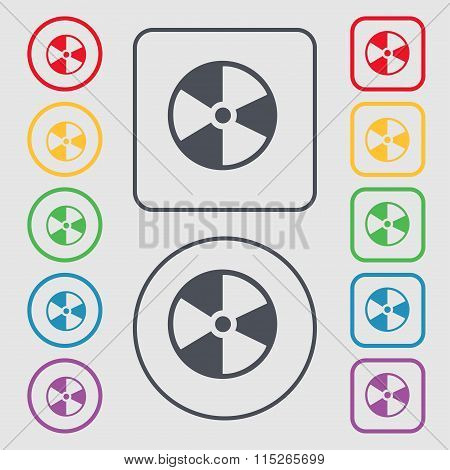 Radioactive Icon Sign. Symbol On The Round And Square Buttons With Frame.