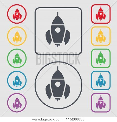 Rocket Icon Sign. Symbol On The Round And Square Buttons With Frame.