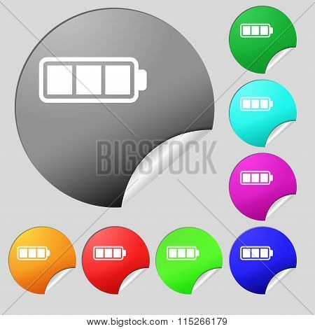 Battery Fully Charged Icon Sign. Set Of Eight Multi Colored Round Buttons, Stickers.