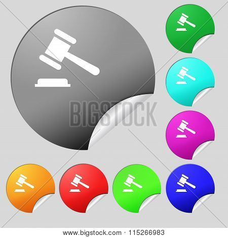 Judge Or Auction Hammer Icon Sign. Set Of Eight Multi Colored Round Buttons, Stickers.