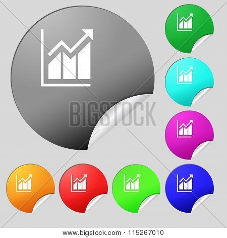 Growing Bar Chart Icon Sign. Set Of Eight Multi Colored Round Buttons, Stickers.