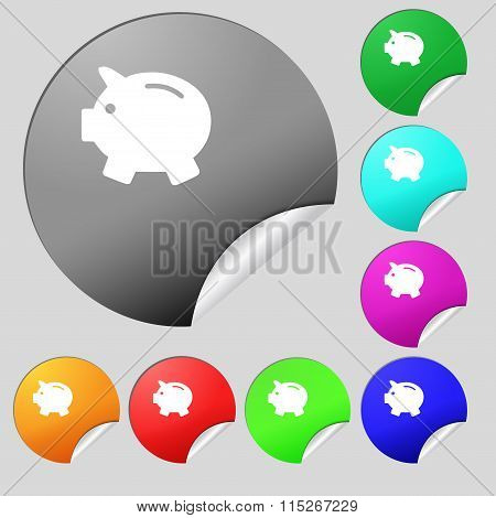 Piggy Bank - Saving Money Icon Sign. Set Of Eight Multi Colored Round Buttons, Stickers.