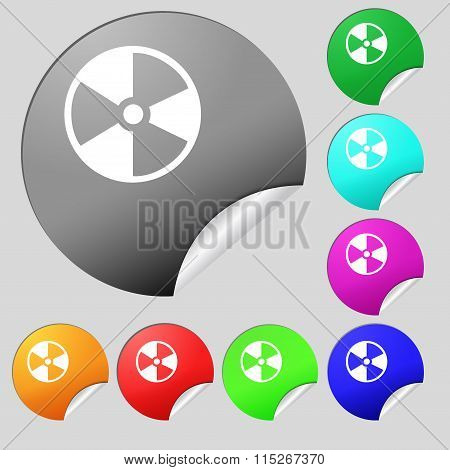 Radioactive Icon Sign. Set Of Eight Multi Colored Round Buttons, Stickers.
