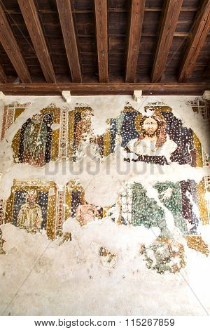 Fresco Damaged To Be Restored In A Medieval Cloister.