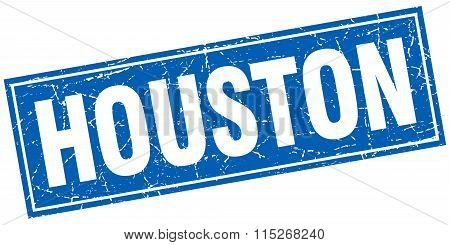 Houston blue square grunge vintage isolated stamp