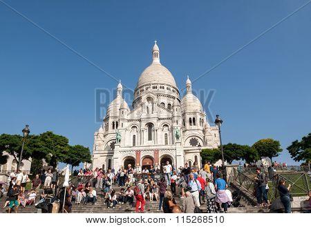 PARIS, FRANCE - SEPTEMBER 10, 2014:  Sacre Coeur on Montmartre Paris France