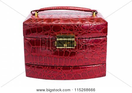 Photo Of A Leather Red Casket On A White Background