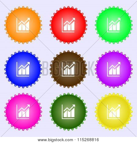 Growing Bar Chart Icon Sign. A Set Of Nine Different Colored Labels.