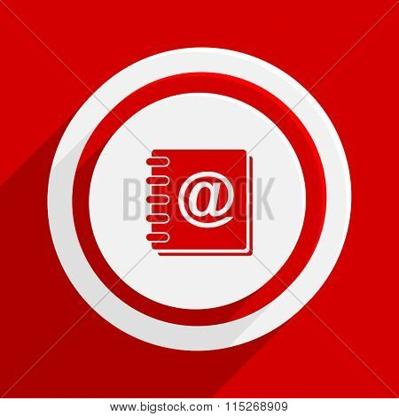 address book red vector flat icon