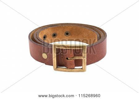 The Photo Of A Leather Brown Belt On A White Background  Isolated
