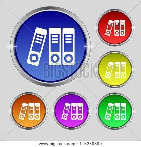 Binders  Icon Sign. Round Symbol On Bright Colourful Buttons.