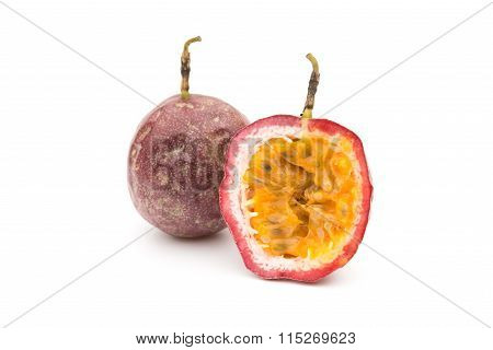 Passion Fruit With One Cut One On A White Background