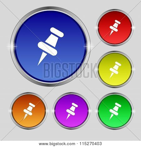 Push Pin Icon Sign. Round Symbol On Bright Colourful