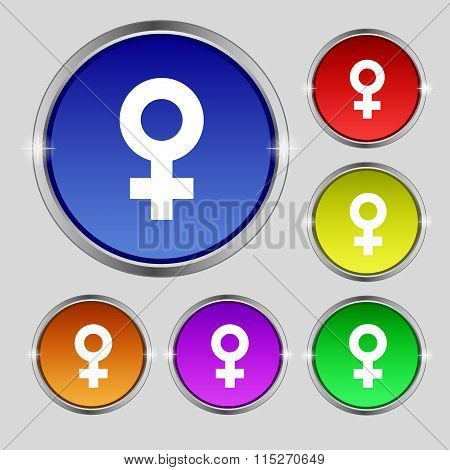 Female Icon Sign. Round Symbol On Bright Colourful
