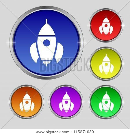 Rocket Icon Sign. Round Symbol On Bright Colourful Buttons.