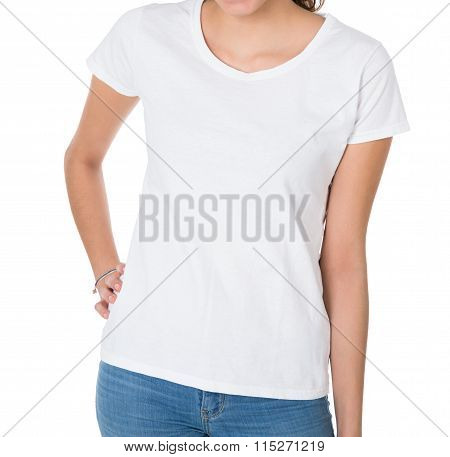 Midsection Of Woman Wearing Blank White Tshirt