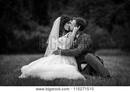 Handsome Happy Groom Hugging And Kissing Beautiful Bride While Sitting In A Field B&w