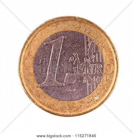 One Euro Coin On A White Background