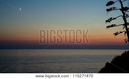 Sea Sunset Moon