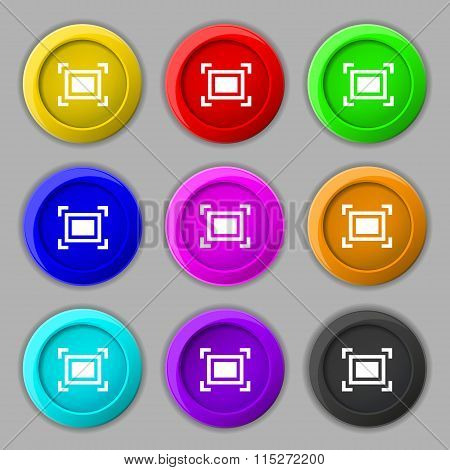 Crops And Registration Marks Icon Sign. Symbol On Nine Round Colourful Buttons.