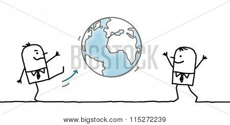 cartoon businessman giving a kick in the Earth