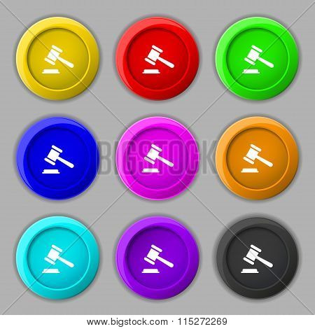 Judge Or Auction Hammer Icon Sign. Symbol On Nine Round Colourful Buttons.